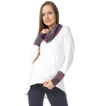 Biała bluzka ciążowa z golfem Megan Bensini