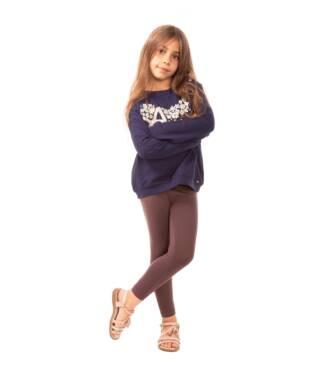 Brązowe dziewczęce legginsy Bensini do kostki