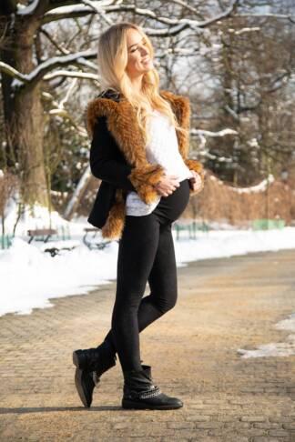 Ocieplane jesienno zimowe legginsy ciążowe Paula Bensini