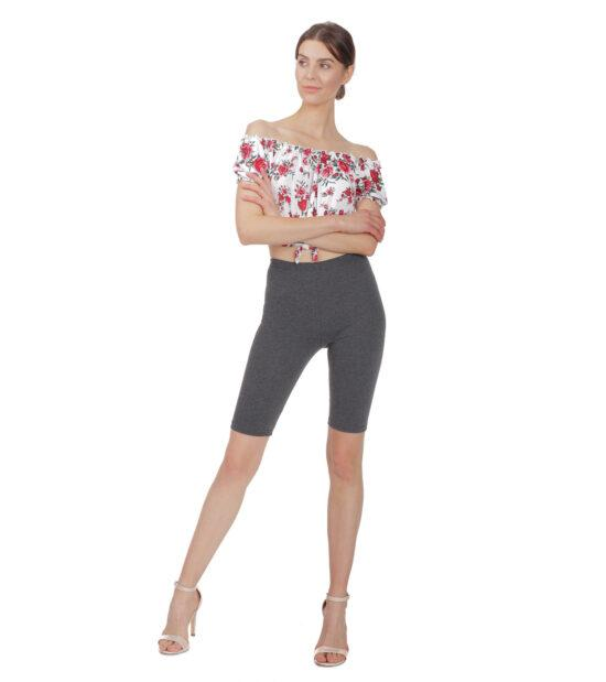 Krótkie legginsy damskie, antracyt