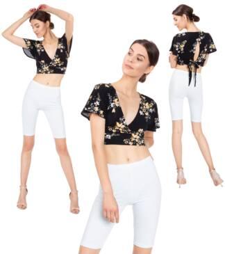 Krótkie legginsy damskie - białe Bensini