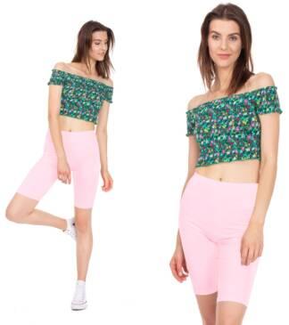 Legginsy damskie, krótkie - kolarki różowe