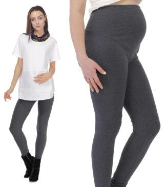 Grafitowe ocieplane zimowe legginsy ciążowe Bensini