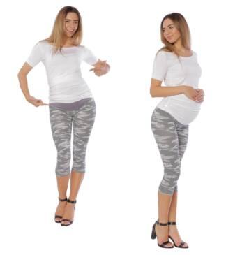 Drukowane legginsy ciążowe, rybaczki Bensini