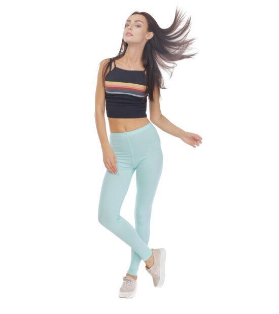 Seledynowe legginsy w gumkę