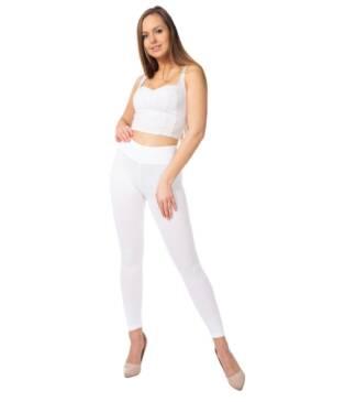 Białe legginsy Bensini z wysokim stanem