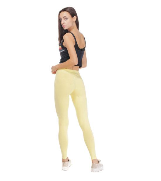 Żółte legginsy w gumkę
