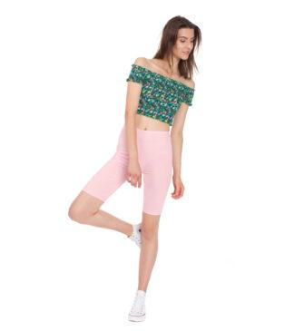 Różowe legginsy sportowe do fitness, kolarki przed kolano Bensini