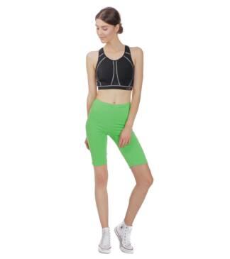 Zielone legginsy sportowe do fitness, kolarki przed kolano Bensini