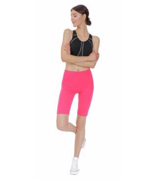 Koralowe legginsy sportowe do fitness, kolarki przed kolano Bensini