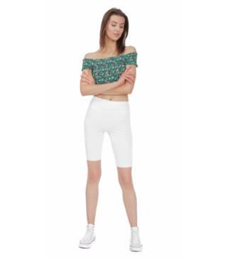 Białe legginsy sportowe do fitness, kolarki przed kolano Bensini