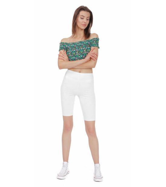 Krótkie legginsy damskie, białe