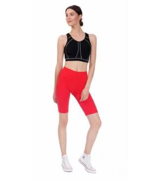 Czerwone legginsy sportowe do fitness, kolarki przed kolano Bensini