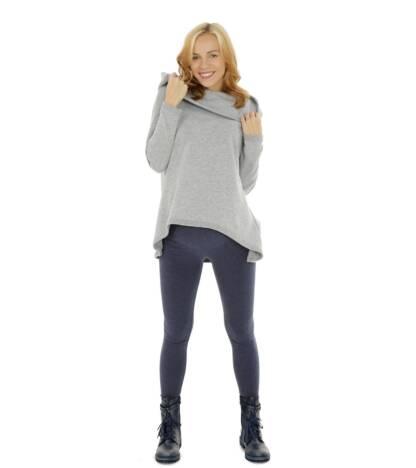 Jeansowe ocieplane legginsy ciążowe Bensini
