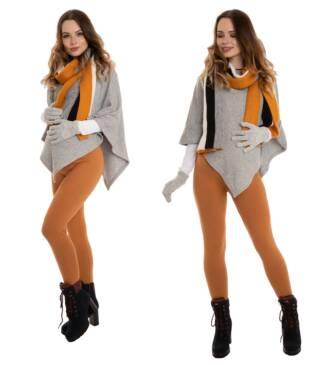 Ciepłe legginsy ciążowe, karmelowe Bensini
