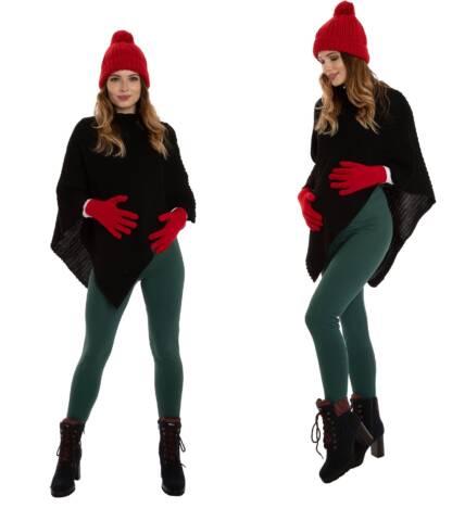Ciepłe legginsy ciążowe, zielone Bensini