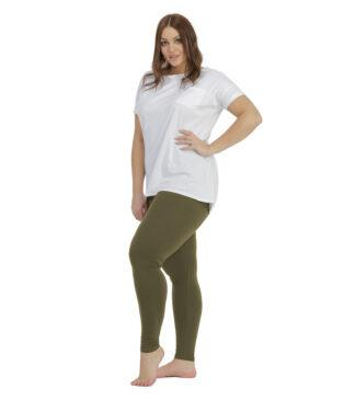 Oliwkowe legginsy, getry Plus Size Bensini
