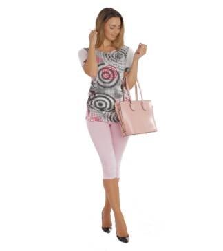 Różowe legginsy do łydek Bensini