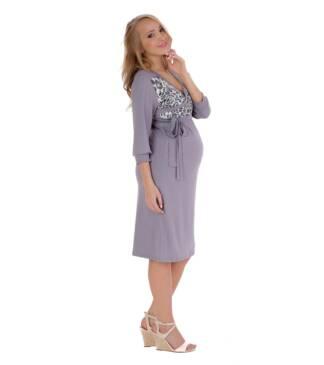 Szara sukienka ciążowa Gray Chanel Bensini