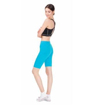 Turkusowe legginsy sportowe do fitness, kolarki przed kolano Bensini