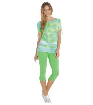 Zielone legginsy damskie do łydek Bensini