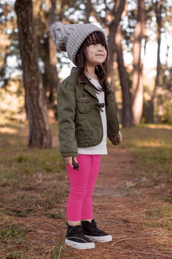 Ocieplane legginsy dziecięce – amarantowe