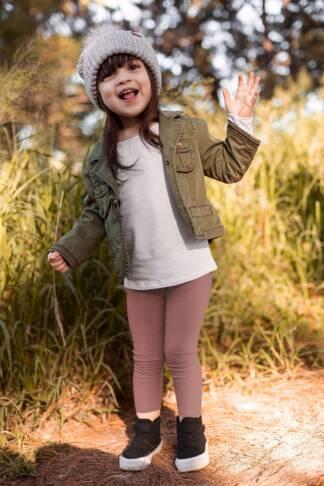 Ocieplane legginsy dziecięce w kolorze różowym Bensini