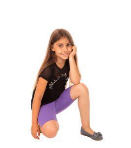Fioletowe legginsy, kolarki dziecięce Bensini