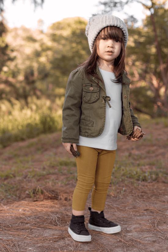 Ocieplane legginsy dziecięce – cappuccino