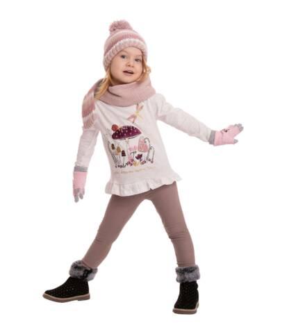 Ocieplane legginsy dziecięce beżowe Bensini®