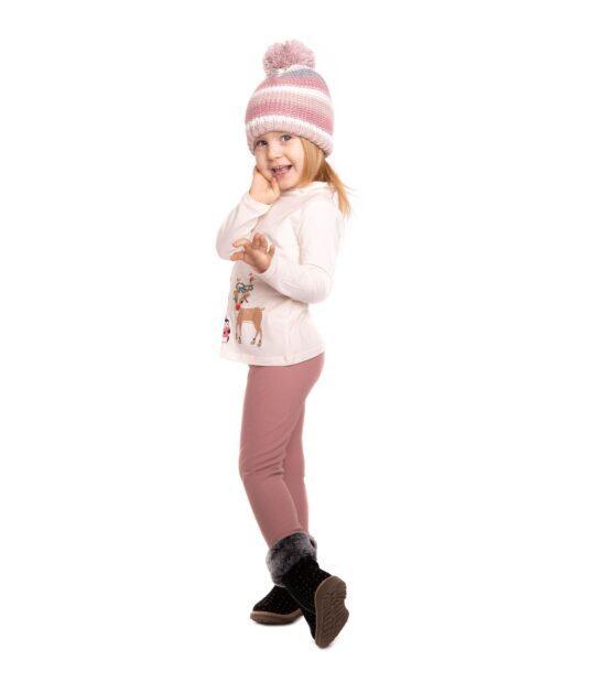 Ocieplane legginsy dziecięce – różowe