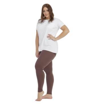 Brązowe legginsy damskie plus size Bensini
