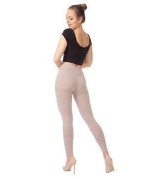 Beżowe legginsy damskie z wysoką talią Bensini