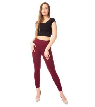 Bordowe legginsy damskie z wysoką talią Bensini