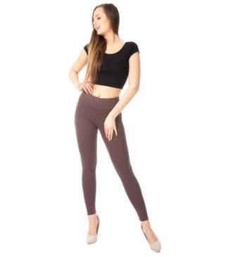 Brązowe legginsy damskie z wysoką talią Bensini