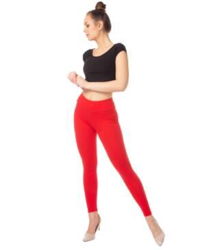 Czerwone legginsy damskie z wysoką talią Bensini