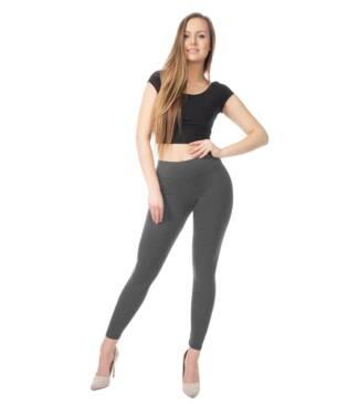 Grafitowe legginsy damskie z wysoką talią Bensini