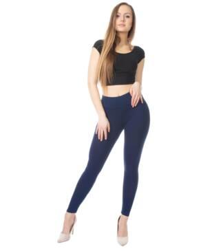 Granatowe legginsy damskie z wysoką talią Bensini