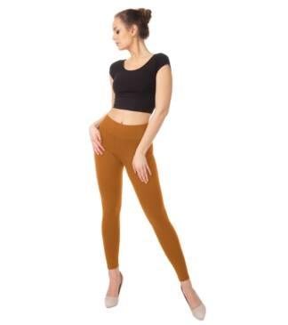 Karmelowe legginsy damskie z wysoką talią Bensini