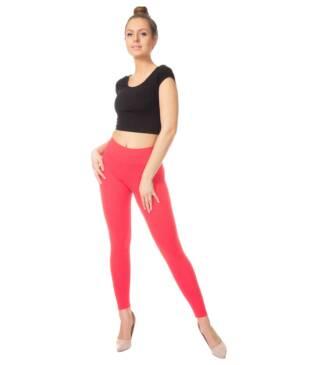 Koralowe legginsy damskie z wysoką talią Bensini