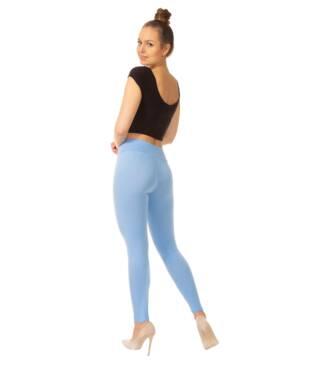 Niebieskie legginsy damskie z wysoką talią Bensini