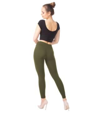 Oliwkowe legginsy damskie z wysoką talią Bensini