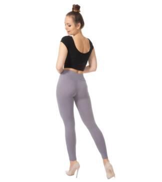Stalowe legginsy damskie z wysoką talią Bensini