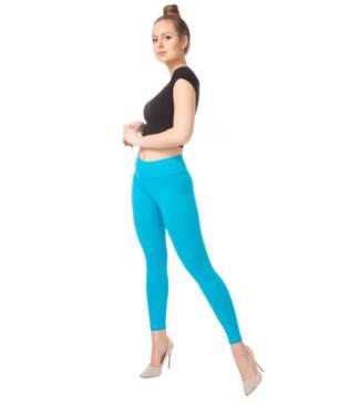 Turkusowe legginsy z wysoką talią Bensini