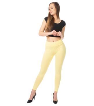 Żółte legginsy z wysoką talią Bensini