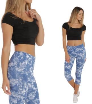 niebieskie legginsy sportowe fitness batik bensini