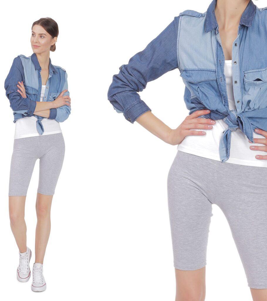 Krótkie legginsy damskie w szarym melanżu - kolarki
