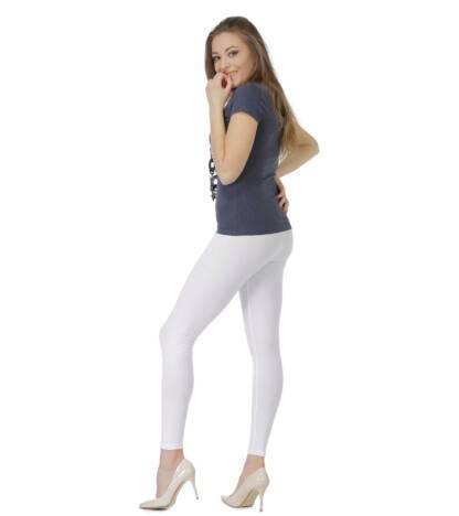 Białe legginsy damskie do kostki Bensini