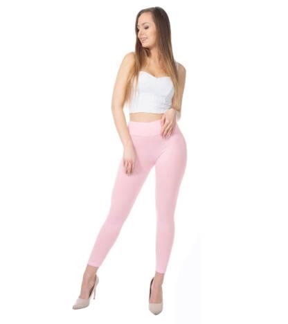 Różowe legginsy damskie z wysoką talią Bensini