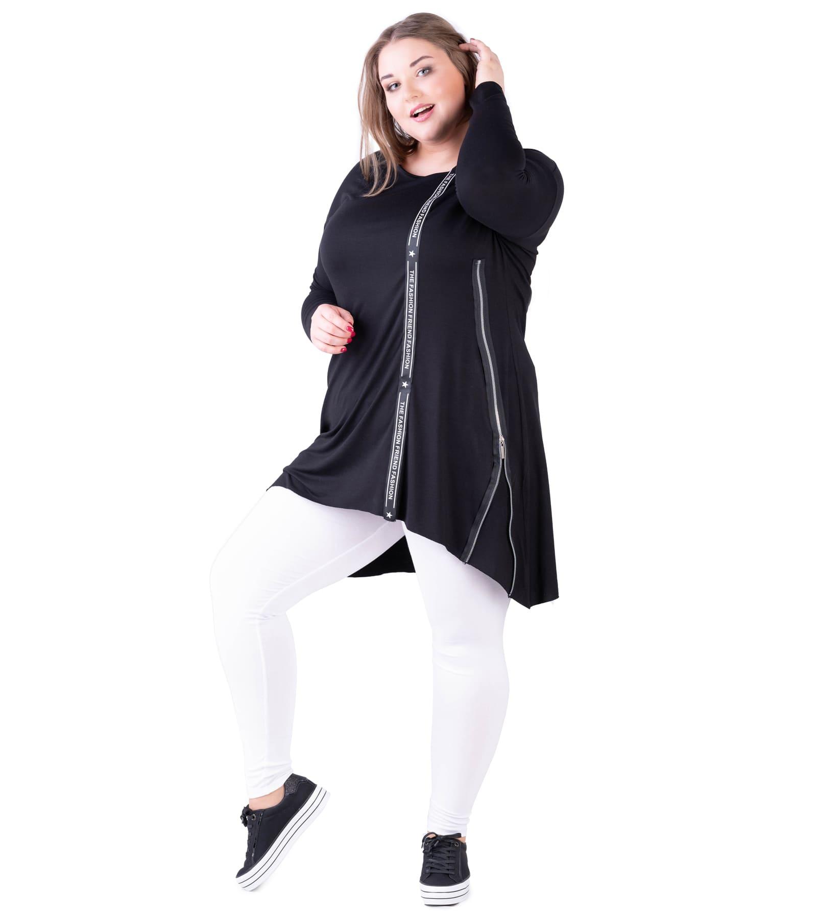 Tunika damska Plus Size czarna z ozdobną taśmą